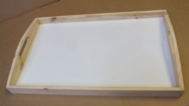 Wooden Serving Tray - 465mm x 295mm x 60mm - Unpainted with white base